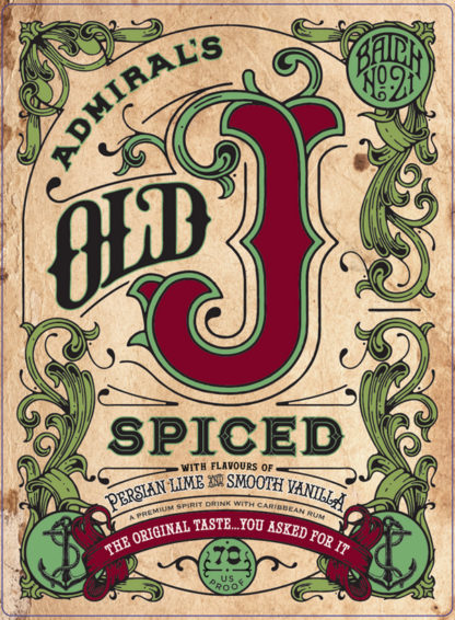 Old J Admiral's Spiced Rum 700Ml